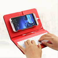 Wholesale Mini Usb Case Cover Keyboard - Flip PU Leather Phone Case with kistand OTG Stylish USB Keyboard Durable Stand Cover for Android Phone samsung HTC LG huawei