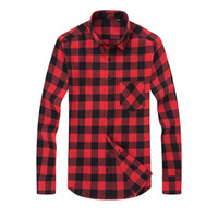 Wholesale green plaid dress resale online - Plus size Clothing XL Men s Plaid Shirts Dress Male Casual Warm Soft Comfort Long Sleeve Shirt Clothes camisa masculina Tops