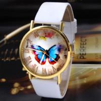 Wholesale Butterfly Shocking - Geneva Watch Womens Girl Butterfly Pattern PU Leather Strap Analog Quartz Wrist Casual Watch Wristwatches Cheap watch tag