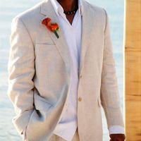 Wholesale Men Beach Wedding Suit - Light Beige Linen Suits Beach Wedding Tuxedos For Men Custom Made Linen Suit Tailor Made Groom Suit Cool Men's Linen Tuxedos handsome