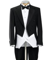 Wholesale Double Breasted Black Mens Vest - Black Mens Morning Suits Double Breasted Groom Tuxedos With Long Train Tailcoat Best Man Magician Performance Wears(Jacket+Pants+Vest)