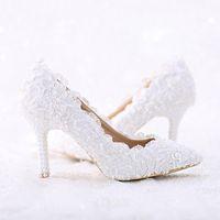 dantel ayakkabıları inci toptan satış-Sivri Burun Beyaz Dantel ve Inci Gelin Düğün Ayakkabı Kadın Ince Topuk Rahat Dans Ayakkabıları El Yapımı Doğum Günü Partisi Pompaları