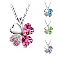 Wholesale Austrian Crystal Clover Leaf - Austrian Crystal four Leaf Leaves Clover heart rhinestones necklace pendant jewelry