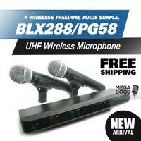 transmisores uhf al por mayor-Microfono BLX BLX288 BLX88 PG 58A UHF Sistema inalámbrico de karaoke con micrófono y transmisor de mano doble PG58 Microfone Mic Microfoon gratis