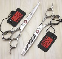 Wholesale Hair Salon Tools Equipment - 751# 6inch Japan Kasho Human Hair Cutting Thinning Scissors Kit,Top Quality Professional Hair Shears with Carved Handle,Salon Equipment Tool