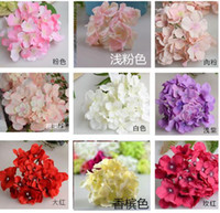 Wholesale Head Ornament Wedding - Artificial Flowers Christmas party Fashion Wedding Silk Artificial Hydrangea Flowers HEAD White Diameter 15cm Home Ornament Decoration