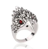thai heißer mann großhandel-2016 europäische und amerikanische mode hot retro antike silber männer ring herrschsüchtig adlerkopf thai silber ring