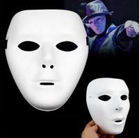 weiße maskenmalerei gesichter großhandel-Förderungpreis handgemalte Malerei-Maske DIY weißes Gesicht Pulp Hallowmas Partei-Masken-volle Gesicht Mannfrauen maskieren 50pcs / lot