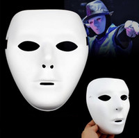 Wholesale pulp face masks resale online - Promotion price Hand Painted Painting Mask DIY White Face Pulp Hallowmas Party Mask Full face Men women mask