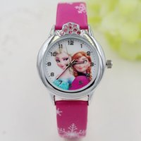 Wholesale Gilrs Watches - Fashion Kids Watch Frozen Cartoon Watches Quartz Watches Leather Wristband Rhinestone Crown Anna Elsa Wristwatch For Gilrs Gift