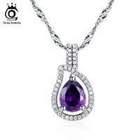 Wholesale Austrian Crystal Heart - Orsa Jewelry Top Quality Water Drop Pear Cut Austrian Zircon Pendant Necklace 925 Silver Necklace ON82
