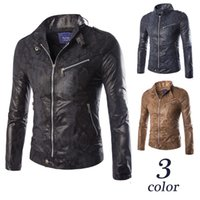 Wholesale Mens Slim Blue Fur Jacket - 2017 Faur Motorcycle Leather Jacket Hot Sale Fall Winter Fashion Mens Black Kahki Dark Blue Color washing Leather Jackets