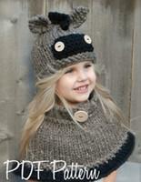 ingrosso pezzo del cappello del crochet-2017 commercio estero nuovo cappello per bambini asino pony cappello intrecciato colletto due pezzi set cappello di lana all'uncinetto europeo e americano
