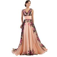 Wholesale Design Flower Evening Dress - New fashion 3 Designs Stock One Shoulder Flower Pattern Floral Print Chiffon Evening Dress Gown Party Long Prom dresses 2016