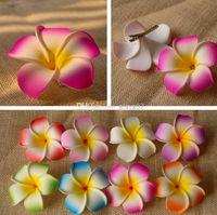 frangipani saç tokaları toptan satış-100pcs / lot Hawaii plaj tatil Frangipani Çiçek Yapay çiçekler Gelin Düğün köpük Saç Plumeria saç aksesuarları SIZE Klip: 6cm