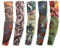 Wholesale Cool Sleeve Tattoos Men - Wholesale Multi style 100% Nylon elastic Fake temporary tattoo sleeve designs body Arm stockings tatoo for cool men women Free shipping