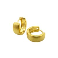 18k pendientes rellenos amarillos al por mayor-Smooth Huggie Earrings 18k Gold Gold Filled Womens Hoop Earrings Gift