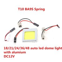 Wholesale 48 Led Dome Panel - 48 led T10 COB ba9s spring ba15s 9W with Aluminum Car Auto Panel Festoon Interior Plate Dome LED 18 21 24 36 LED