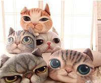 Wholesale Polyester Pillow Filler - 2016 Creative 3D Shaped Grumpy Cat Face Design Throw Plush Cotton Car Cushion Pillow Case Animal Head Shaped Pillow Without Filler
