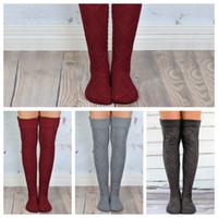 Wholesale girl knit boots online - Over Knee Stockings Women Girls Warm Knit Thigh High Long Stockings Knitted Boot Socks Leggings LJJO2931