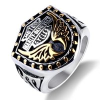 Wholesale band rings for sale - European and American retro ring the overbearing Eagle wing Harley ring free delivery