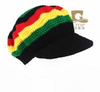 Wholesale Tam Beret - Rasta Beanie Hat Beanies Knit Hats Beret Crochet Slouchy Tam Reggae Jamaica Style Visor Hat Unisex Hot