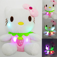 Glowing Soft Toy LED Soft Hello Kitty Light Up Fruit KT Hello Kitty Anime lampeggiante Luminated Gattino farcito Toy Pink Red Orange Purple