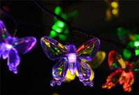 Wholesale Solar Energy Butterfly - 4.8M 20 LED Energy Saving Solar Fairy LED String Light Novelty Butterfly Lamps Outdoor 2016 Festival Party Garden Decoration Lights