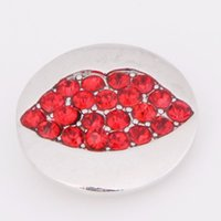 Wholesale noosa new style hot sale metal red lips round rhinestone mm snap buttons fit DIY snap bracelets jewelry women D188