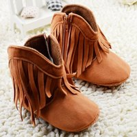 Wholesale 1year Baby Girls Shoes - Moccasin Newborn Baby Girl Kids Prewalker Solid Fringe Shoes Infant Toddler Soft Soled Anti-slip Boots Booties 0-1Year babies shoes A8459