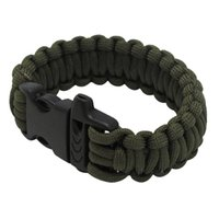 Wholesale Military Kits - Multifunctional Military Paracord Bracelet Outdoor Survival Kit Parachute Cord Buckle with Whistle for Hiking Camping Emergency