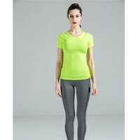 Atacado-2016 Mulheres Yoga Camisas Esportes Rápido Dry Fitness Gear Tights Bodybuilding GYM Running Jersey T-shirt de manga curta Tops T-Shirts W601
