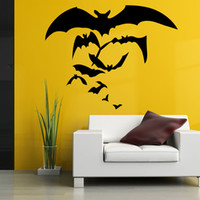 Wholesale Vinyl Decorative Christmas Stickers - 2016 hot selling Halloween Wall Stickers Bat Living Room Bedroom Decorative Removable Wall Stickers for christmas decoration