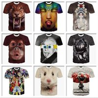 Wholesale Shirt Animal Print Sleeve - 2016 Summer New 3D Animals Print T Shirts For Men Big Face Tees Short Sleeve Slim Fit Polo panda Saber-toothed tiger Novelty Shirt