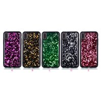 Bling Foil Soft TPU Case pour iphone X 8 7 Plus 6 6S Sparkle Gel Silicone Black Leaves Diamond Glitter Cell Phone Skin Cover Dynamic Magical