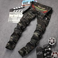 Wholesale Male Multi Pockets Pants - Men's casual camouflage pockets skinny biker jeans Male zippers military style army green slim stretch denim pants Long trousers