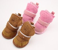 Wholesale Paws Boots - Fashion Winter Warm Paw Printed Pet Dog Snow Boots Anti-Slip Rubber Sole Small Medium Dogs Plush Sport Shoes 50sets lot