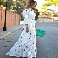 Wholesale Vogue Boho Chiffon Dress - New Women Lady Boho Beach Chiffon Stand Collar Polka Fashion Slim Fit Vogue Elegant Casual Chic Sexy Long Maxi Sundress Dress