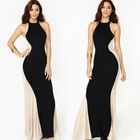 Wholesale Basic Maxi Dress - Sexy Women Long Dress splicing fishtail Round Neck Sleeveless floor Length Summer Basic Maxi Dress mop the floor skirt