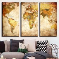 Barato Pintura A Óleo Retrato Do Mundo-Hot vendem 3 Painel Vintage World Map Canvas Painting Oil Painting Print Home Decor em Wall Art Picture For Living Room Unframed