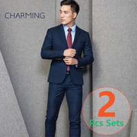 Wholesale Modern Suits For Men - modern mens suits 2 piece suit for man (suit + trousers) High-quality elastic thickening of the fabric mens wedding suits jackets mens