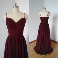 Wholesale Modest Sweetheart Neckline - Modest Long Formal Bridesmaid Dress Maroon Ruched Chiffon Sweetheart Neckline Spaghetti Straps Floor Length Cheap Maid of Honor Gowns
