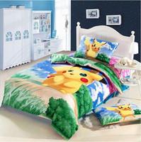 Wholesale Kids Duvet Covers Full - POKE Cartoon Bedding Set Kids pokémon Pikachu Duvet Cover Set Bedsheet Pillowcase 3pc 100% cotton Bed Linen Twin Full Size