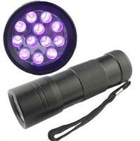 12 luzes led uv venda por atacado-Livre DHL, 395-400NM Ultra Violeta Luz UV Mini Portátil 12 LED UV Lanterna Tocha Escorpião Detector Localizador de luz Preta (UV-12)