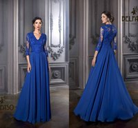 Wholesale Dresses Exquisite Evening Gown - 2016 Long Sleeve Exquisite Mother of the Bride Gowns Janique Sheer Illusion Lace Chiffon A Line Long Formal Evening Gowns Custom Made