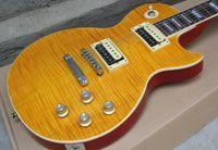 çin fabrikası gitarı toptan satış-Özel Standart Slash İştah Bal Patlama Alev Maple Maple Elektrik Gitar Maun Vücut Kırmızı Geri Çin Gitar Fabrika Outlet OEM Gitar