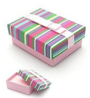 Wholesale Small Pendant Gift Boxes - [Simple Seven] Rainbow Color Bracelet Box Festival Stripe Earring Case  Colorful Pendant Display Special Gift Jewelry Box with Ribbon(Small)