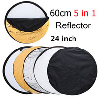 Wholesale Photo Discs - 24 Inch 60cm 5 in 1 Portable Collapsible Light Round Photography Photo Reflector for Studio Multi Photo Disc