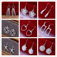Wholesale order sterling silver resale online - Mix order women s sterling silver plated earring pairs a mixed style EME18 fashion silver Dangle Chandelier earrings