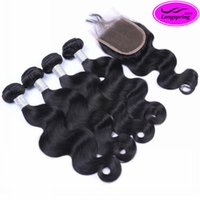 Wholesale Malaysian 3pcs Closure - Top Lace Closure with 3Pcs Brazilian Human Hair Extensions Peruvian Indian Malaysian Cambodian Human Hair Weaves Brazilian Body Wave